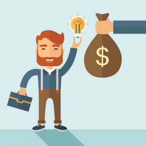 A hipster Caucasian businessman with beard exchange his hand with idea bulb to hand of money bag. Exchanging concept. A contemporary style with pastel palette soft blue tinted background. Vector flat design illustration. Square layout with text space on right lower part.