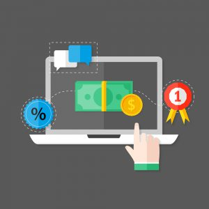 Illustration of Online Payment Flat Icon over Dark Grey