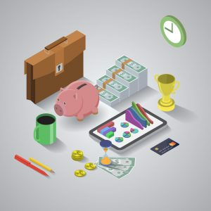 Isometric illustration of business tools. EPS10 vector