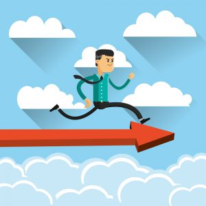 flat design businessman running on top of arrow icon vector illustration
